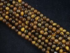 Gemstone Beads Tiger Eye 6mm Round Beads 35cm Strand Semi Precious FREE POSTAGE