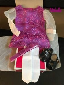 American Girl Julie Holiday Outfit Christmas Dress ,shoes tights headband NEW