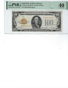 1928 $100 Gold Certificate FR2405 PMG 40 XF!!! Woods/Mellon, High Quality!!!
