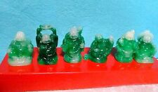 Set of 6 JADE COLOR Feng Shui HAPPY LAUGHING BUDDHA Figures & Luck & Wealth HOT!