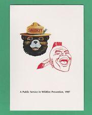 """1987 Smokey Bear Wildfire Prevention Atlanta Braves 4.25""""x6"""" (KCR)"""