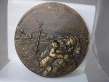 Medalla religiosa. Bronce. Dios concédeme. Madre y niño. Alto relieve. Años 70