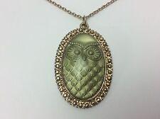 Vintage Owl Pendant Necklace Huge Goldtone Lucite Reverse Painted1970s