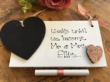 Personalised countdown to wedding chalkboard plaque engagement gift Mr & Mrs
