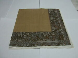 """USED LIGHT BROWN PAISLEY PATTERN COTTON 18"""" HANDKERCHIEF POCKET SQUARE FOR MEN"""