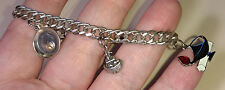 Sterling Silver Charm Bracelet - Three Charms - ON SALE