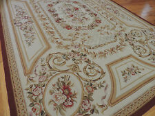 French 6x9 Aubusson design Needlepoint Oriental Area Rug Red Beige Gold