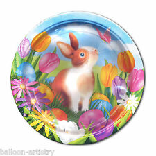 "8 Easter Garden Egg Hunt Cute Bunny 7"" Lunch Disposable Party Paper Plates BA"