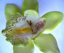 Hawaiian Hawaii Bridal Wedding Party Orchid Flower Hair Clip ~ LT GREEN (QTY 2)