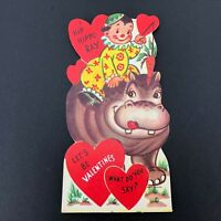Vtg 40s 50s Die Cut Hippo Valentines Card Ephemera Greeting Hippopotamus Clown