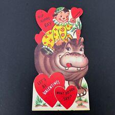 Vtg 40s 50s Die Cut Hippo Valentines Card Ephemera Greeting Hippopotamus Clown