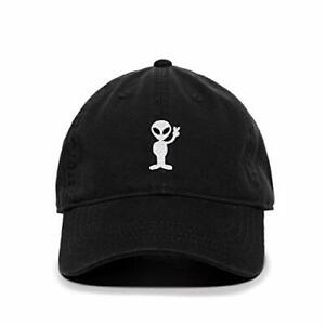 Alien Peace Sign Baseball Cap Embroidered Cotton Adjustable Dad Hat
