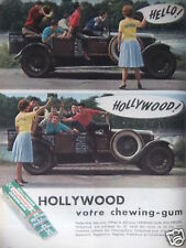 PUBLICITÉ 1958 HOLLYWOOD VOTRE CHEWING-GUM - VOITURE ANCIENNE - ADVERTISING