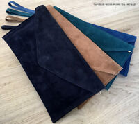 Navy Wedding Clutch Bag Evening Bag Over Size Envelope Suede Prom Made in Italy
