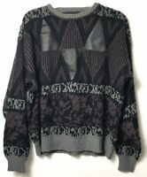 Vtg 80's Grandpa Geek Nerd Cosby Size Large Cardigan Sweater Leather Patches