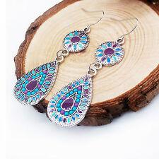 Women's Vintage Rhinestone Dangle Drop Ear Stud Earrings Crystal Chain Jewelry