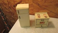Antique Wood Doll House Stove & Refrigerator