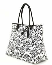 Belvah damask print black and white tote bag QND2705(BK) handbag purse BS7200