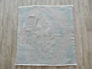Semi-Antique Geometric Muted 2'4'' x 2'5'' Oushak Turkish Area Rug Hand-Knotted