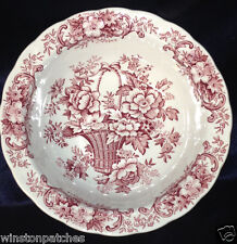 """RIDGWAY ENGLAND OLD ENGLISH BOUQUET ROUND BOWL 7 7/8"""" RED FLOWERS BASKET SCROLLS"""