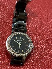 DKNY Ladies Ceramic Crystal Watch. Black dial & strap. NY-4980 (Pre Owned)