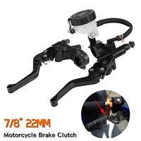 """7/8"""" Universal Motorcycle Brake Clutch Lever Master Cylinder Reservoir Set Black"""