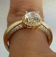 1.50 carat 14k solid Yellow Gold round Halo Engagement Ring size 5 6 7 8 9