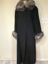 Marvin Richards Women's winter fox fur lambswool long coat tag size16 &fit 2X 3X