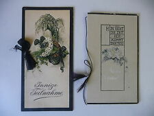 2  alte Trauerkarten Billets Klappkarten Kondolenz Spruch Farblitho 1924