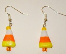 Glass-Handcrafted-Orange# 730 Halloween/Fall/Autumn Earrings-Candy Corn-Lampwork