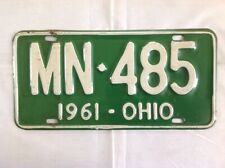 Vintage 1961 Ohio Automobile License Plate / MN 485