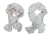 $395 RL Ralph Lauren Purple Label Womens Cotton Knit Ruffled Scarves New