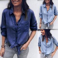 Fashion Women Long Sleeve Denim Jeans Blouse Tops Ladies Loose Button T Shirt UK