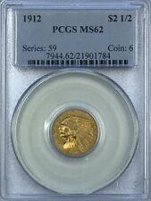 PCGS MS62 1912 $2.5 Indian Head Gold Coin.! Choice BU.!
