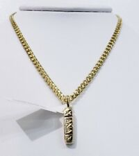 XANAX CHARM WITH SOLID MAIMI CUBAN LINK CHAIN 14KT REAL GOLD FINISH ANTI TARNISH