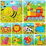Eg _ Animali Legno 9 Pezzi Colorato Puzzle Giocattolo Neonato per Bambini