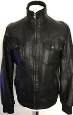 MENS BLACK FAUX LEATHER PU BIKER JACKET BY PEACOCKS SIZE SMALL