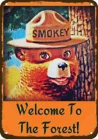 "Smokey The Bear Welcome to The Forest Rustic Metal Sign 8""x12"""