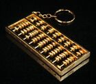 """Copper Crafted Gold Gilt Chinese Traditional Calculator Abacus Key chain 3"""" NEW"""