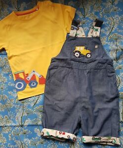 Frugi Reversible Tractor Dungarees 3-4 Years And Kite Yellow Digger Tshirt 2-3