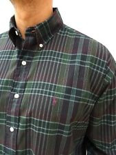 Mens RALPH LAUREN Superb! BLAKE Forest Green / Plum CHECK Shirt Size UK XL #2666