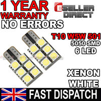2 x Error Free Canbus T10 501 W5W 5050 LED 6 SMD Car Tail Side Light Lamp Bulb