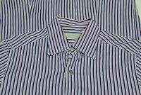 Ermenegildo Zegna Current Blue Pink Striped Cotton Button Up Shirt Sz M