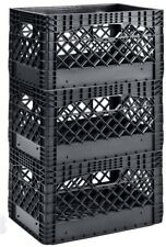 Black Milk Crates Basket Stackable Plastic 3-Pack Heavy Duty Storage Bin Box Set