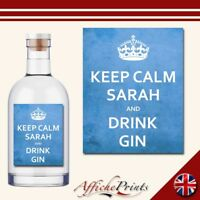 L158 Personalised Keep Calm Blue Gin Novelty Funny Custom Bottle Label - Gift!