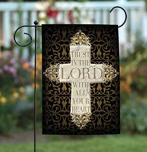 Toland Cross 12.5 X 18 Christian Trust The Lord Heart Double Sided Garden Flag