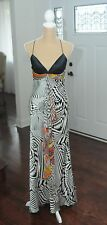 Mary L Couture Stunning 100% silk long dress black and white paisely color Size