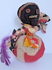 Antique  Black Folk Art Pin Cushion  Cloth Doll Handmade