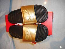 N/W/B Nike Woman  Black/Metallic Gold Benassi Slippers Size 6