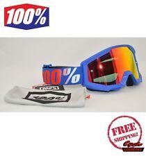 100% PERCENT BRAND STRATA GOGGLES MX ATV MOTOCROSS MOTO NATION BLUE W/ MIRROR